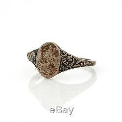 Antique Vintage Victorian Sterling Silver Rococo Signet Seal Band Ring Sz 4.25