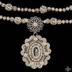 Antique Vintage Victorian Sterling Silver Rosary Reliquary Filigree Necklace