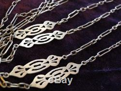 Antique Vtg VICTORIAN STERLING Muff Watch Guard CUTWORK Chain 62 Long NECKLACE