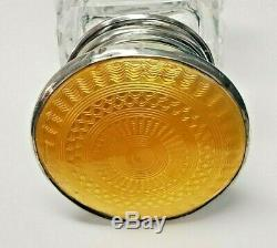 Antique Yellow English Sterling Silver Guilloche Glass Scent Perfume Bottle 1902