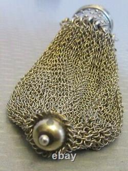 Antique gold-washed STERLING SILVER MESH MISERS PURSE gate-top coin chatelaine