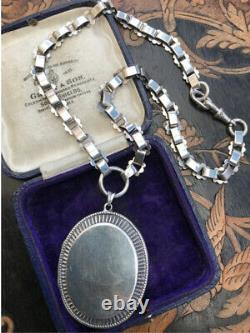 Antique gothic Victorian Sterling Silver book chain collar necklace photo locket