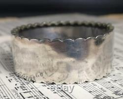 Antique sterling silver bangle, Victorian aesthetic era, swallow