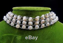 Antique sterling silver clasp & Victorian woven seashell choker necklace 15 ½ L