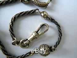Antique victorian sterling silver pocket watch chain chatelaine fob ball