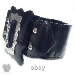 Antique whitby jet mourning bracelet Gothic bangle sterling silver Victorian