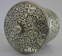 BEAUTIFUL ANGLO INDIAN STERLING SILVER TEA CADDY CANISTER BOX c1900 ANTIQUE 130g