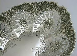 BEAUTIFUL STERLING SILVER FRUIT BREAD DISH BOWL 1898 VICTORIAN 9.25inch 212g