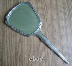 BEAUTIFUL STERLING SILVER & GUILLOCHE ENAMEL HAND MIRROR with ROSES