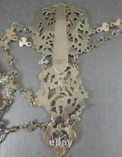 Big Victorian Sterling Chatelaine! 14pc. Chester 1888. The Best I've Ever Seen