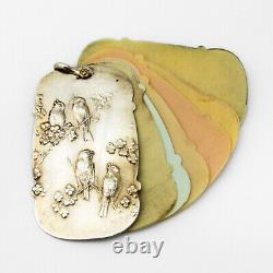 Bird Floral Chatelaine Notepad Gilt Sterling Silver Colourful Pages