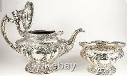 CHANTILLY Old Gorham 5pc Sterling Silver Hand Chased Tea & Coffee Set GRAND