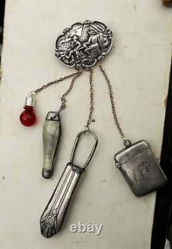 CHATELAINE Sterling CountryMen Brooch, Pearlized Knife, Screwdriver, Match Safe