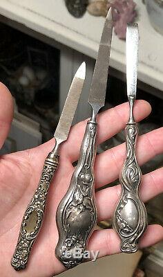 Collection of 9 Antique Victorian Sterling Silver Repousse Handled Tools