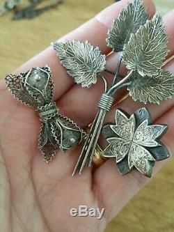 Dealers Lot of Mixed Antique Sterling Brooches. Victorian to Deco Era