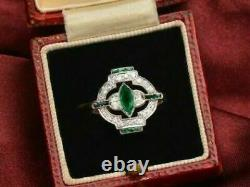 Edwardian Victorian Sophisticated Antique Ring 925 Sterling Silver 4Ct Emerald @