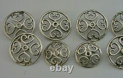 Eight Victorian Solid Sterling Silver Art Nouveau Buttons 1900 Antique Hearts