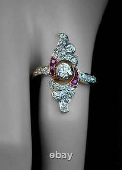 Engagement Victorian Edwardian Ring 1.15 Ct Round Moissanite 925 Sterling Silver