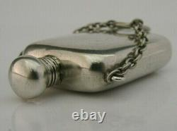 English Solid Sterling Silver Miniature Hip Flask Perfume Bottle 1900 Antique
