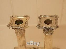 English Sterling Silver Weighted Corinthian Column Candlesticks. 618 Grams. Ncb
