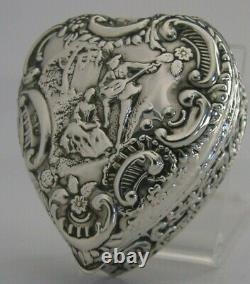 English Victorian Sterling Silver Love Heart Box 1899 Antique