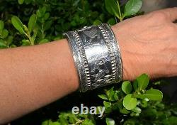 Extra Wide 2 Inch Victorian Sterling Silver Bracelet