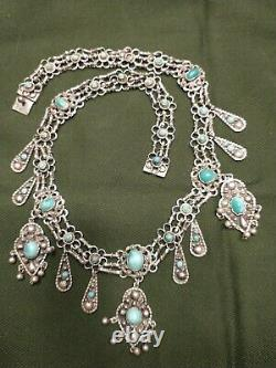 FAB Sterling Turquoise Persian Victorian Edwardian Festoon Necklace Antique