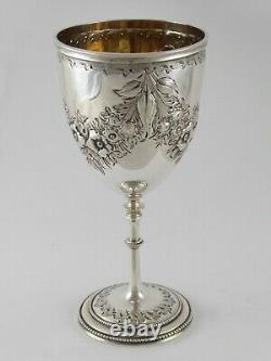 FINE ANTIQUE EMBOSSED VICTORIAN SOLID STERLING SILVER GOBLET CUP 1869 143 g