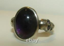 Fab, Antique Victorian Sterling Silver Memento Mori Skull Ring With Amethyst