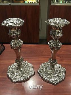 Fine & Rare Pair of Victorian Sterling Silver Candlesticks. Sheffield, c 1900