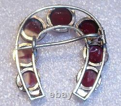 Fine victorian sterling silver pink tourmaline seed pearl horseshoe pin