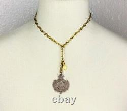 Fob Necklace Antique Sterling silver pendant Hallmarks gold tone Star chatelaine