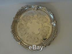 GOOD ANTIQUE VICTORIAN ENGLISH STERLING SILVER SALVER/WAITER/CARD TRAY c1897