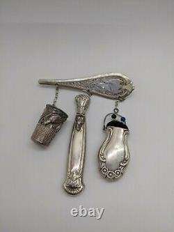 Genuine Antique Victorian Sterling Silver Sewing Kit Brooch Pin Rare 1116-1