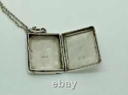 Gorgeous Antique Victorian 1899 Sterling Silver Engraved Foliage Locket Pendant