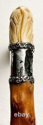 Gorgeous Antique Victorian Walking Cane Stick Very Ornate Sterling Handle Old