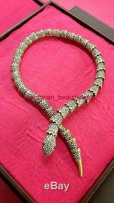 Gorgeous Victorian Look Rose/Antique Cut Diamond Sterling Silver Snake Necklace