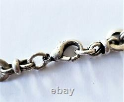 Heavy Antique Victorian Fancy Link Sterling Silver Chain 16 In Necklace 24 grms