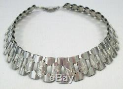 Heavy Antique Victorian Sterling Silver Bookchain Engraved Panel Collar Necklace