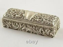 LOVELY ANTIQUE VICTORIAN SOLID STERLING SILVER RING TRINKET BOX CHESTER 1899 46g