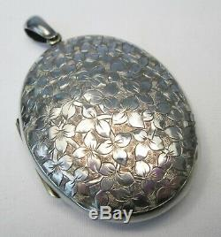 Large Antique Victorian English Sterling Silver Ivy Photo Necklace Locket
