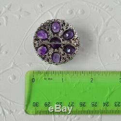 Large Antique Victorian Sterling Silver Austro Hungarian Amethyst Pearl Brooch