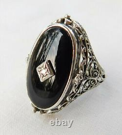 Large Antique Victorian Sterling Silver Cameo Onyx Diamond Flip Ring Size 6