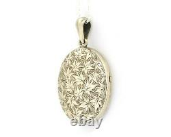 Large Sterling Silver Victorian Locket Necklace With Engraved Ivy Leaves