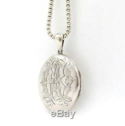 Large Victorian Sterling Locket On An Antique Belcher Chain