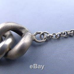 Large Victorian Sterling Silver Bracelet and Ball Charm / Antique