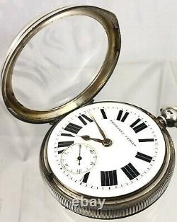 Large Victorian Sterling Silver Fusee Working Pocket Watch Chester 1896