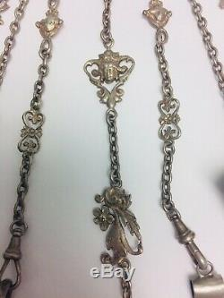 Lg. Ornate Antique Victorian Sterling Silver 7 Chain Chatelaine Brooch Style