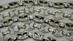 Long 63'' Antique Victorian Sterling Silver Floral Scrolled Book Chain Necklace