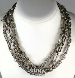Long 76'' Antique Victorian Sterling Silver Floral Scrolled Book Chain Necklace